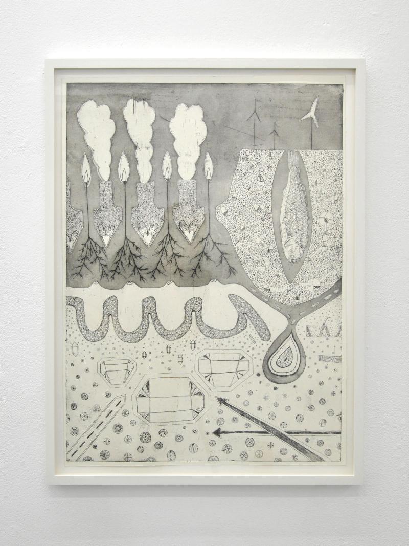 Zora Mann Seeds of hope, 2013 etching on paper 70 x 50 cm  Edition of 8 Courtesy the artist & ChertLüdde, Berlin