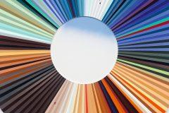Jay Gard,Farbkreis Cecily 04 (Bend Sinister), Sperrholz, Leim, Acrylfarbe, Füllmasse, 125 x 125 cm (Detail)  Foto: Marcus Schneider