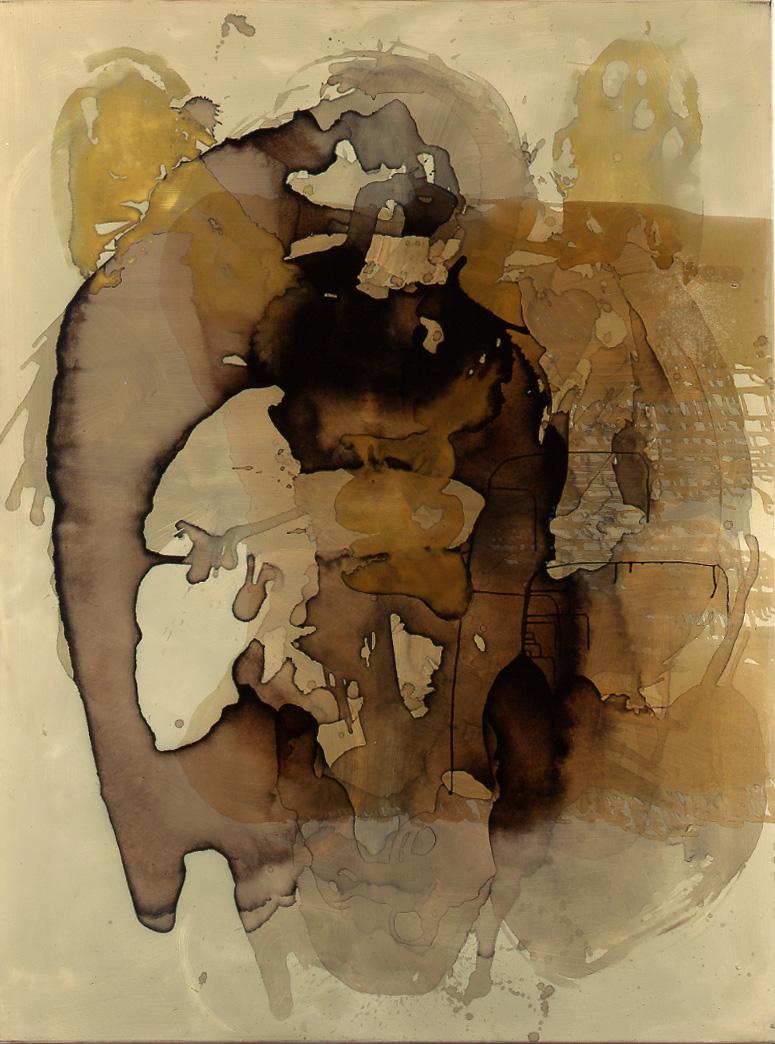 Kaffeeengel links, 1995, Kaffee, Öl, Schellack auf Leinen, Triptychon je 200 X 150 cm