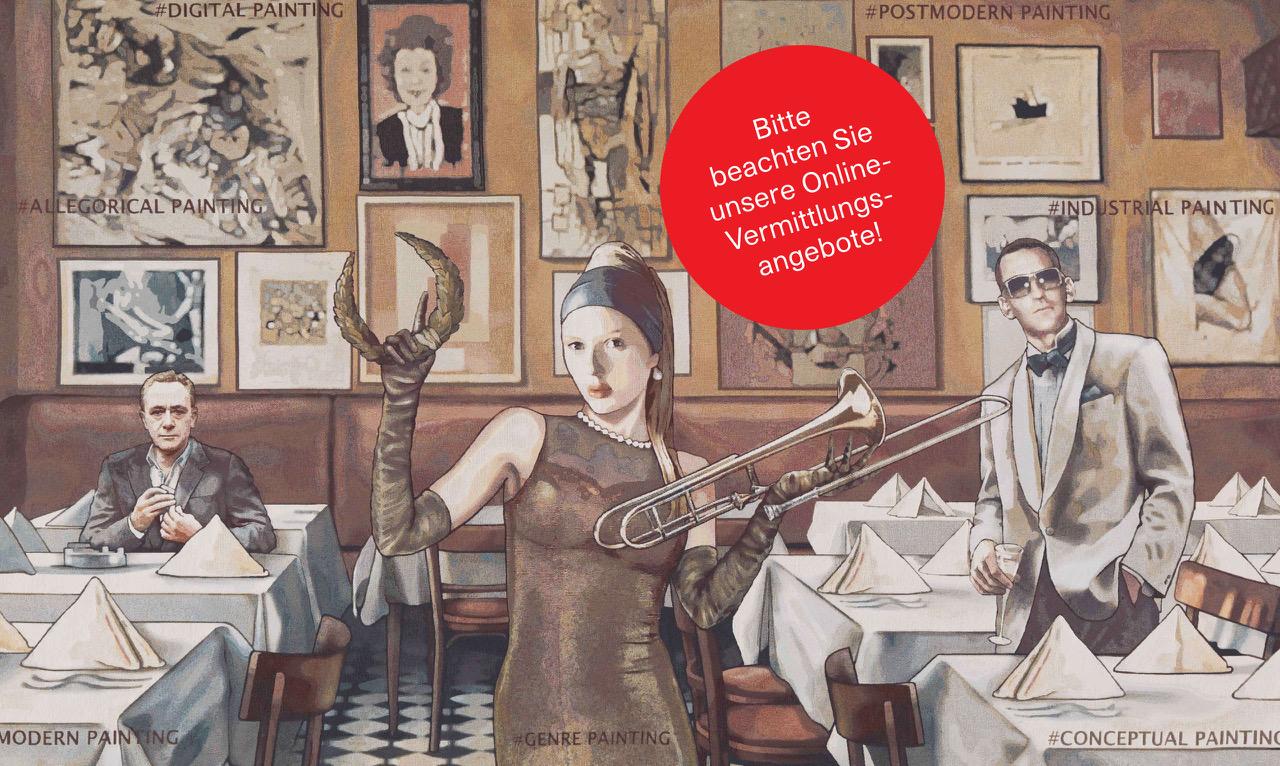 Marget Eicher, Lob der Malkunst 2 (Detail), 2018 Digitale Montage/Jacquard, 290 x 430 cm